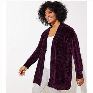 Loft | purple chenille open cardigan MP